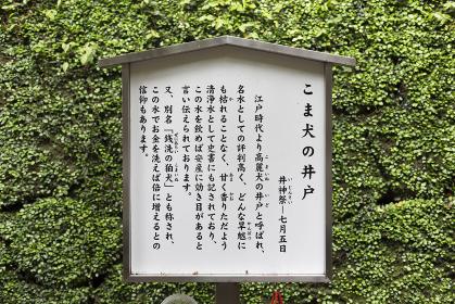 諏訪神社のこま犬の井戸の解説