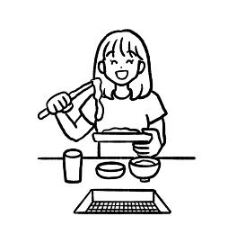 一人焼肉をする女性のイラスト 線画