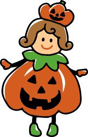かぼちゃの仮装をした女の子のイラスト