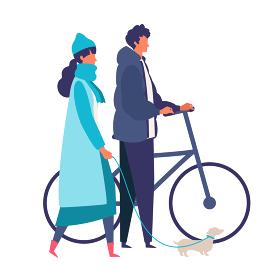 冬のデートを楽しむ若いカップルのイラスト