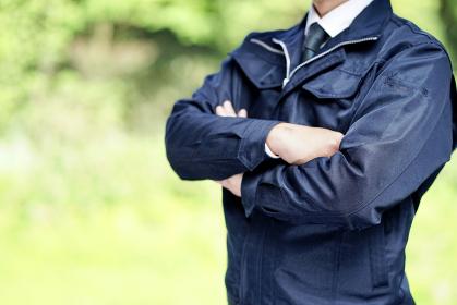 作業服を着たビジネスマン