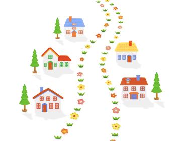 粘土の家5軒と道