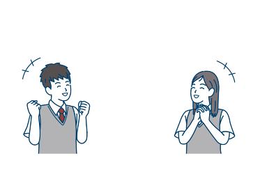 喜ぶ学生 嬉しい 笑顔 中高生 高校生 中学生 男女 コピースペース イラスト素材