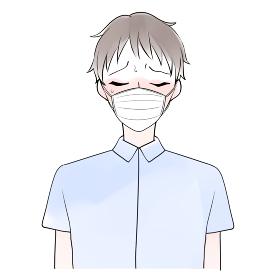 マスク熱中症の男性