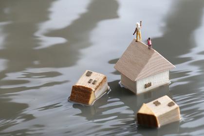 水害により孤立した家々と助けを求める人々