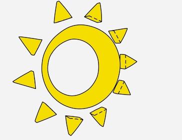 穴が開いている手書きの太陽「黒淵あり」