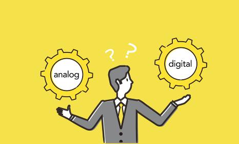 アナログとデジタルを比較するビジネスマンのイラスト、ベクターイラストレーション