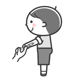 予防摂取/注射をされる男の子/2色