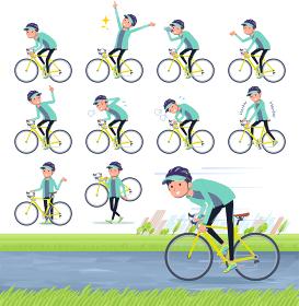 flat type man Blue green Sportswear_road bike