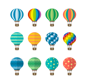 気球・熱気球・アドバルーン カラーイラスト セット