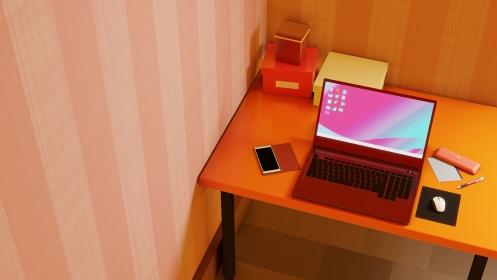 ピンクストライプ壁紙の可愛い部屋 3DCGインテリアイラスト ノートパソコン 周辺機器 雑貨