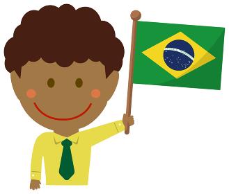 人種と国旗 / ビジネスマン・会社員 男性 上半身イラスト/ ブラジル