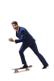 Businessman riding skateboard isolated on white background