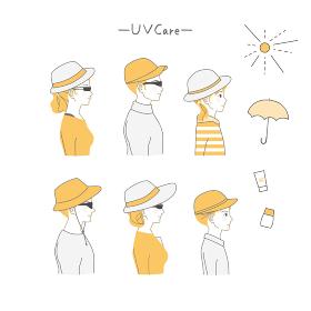 帽子をかぶりUVケアする人の横顔