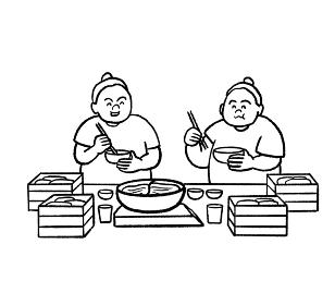 食事をするお相撲さんの線画イラスト