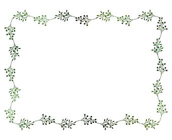 緑の小枝と実のフレームイラスト 4