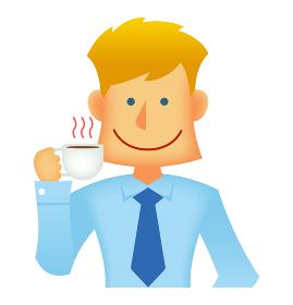 外人・西洋人 若い男性サラリーマン・ビジネスマン 上半身イラスト(コーヒーブレイク・休憩・昼休み)