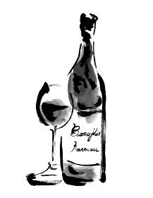 ボジョレーヌーボーのワイングラスとボトルの手描きモノクロイラスト