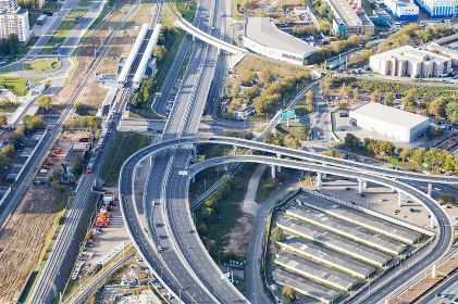 above view of Ring Road and Railway in Moscow
