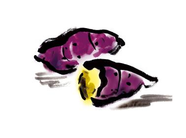 和風手描きイラスト素材 野菜 さつま芋 焼き芋