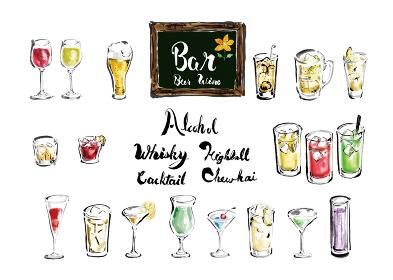 手描きのいろんな種類のお酒 筆書きのアルコールドリンクのグラスセットと英文
