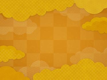和風/中国風 金色の雲の背景素材(横向き)