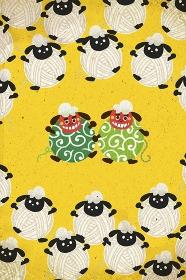 獅子舞の羊と毛糸玉の羊 イラスト