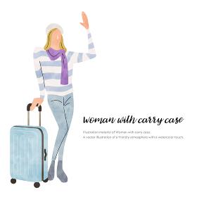 イラスト素材:冬のファッション、若い女性、旅行