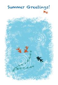 パステル画風金魚と水草の暑中見舞いイラスト
