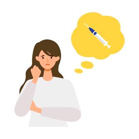 ワクチンに不安や疑問を持つ女性イラスト