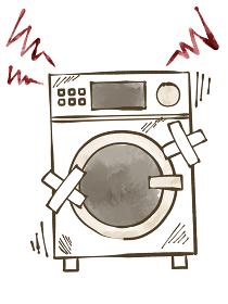 故障しているドラム洗濯乾燥機 水彩