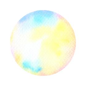 水彩画の丸素材(No.1)アナログ、紙の質感、風合い