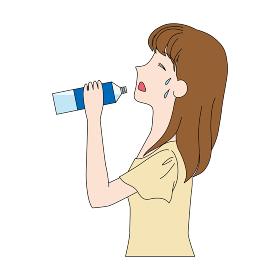 水分補給をする女性のイラスト