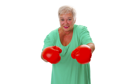 senior with red boxing gloves