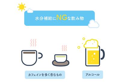 熱中症, 夏, 脱水, 水分補給, カフェイン, アルコール, 素材, アイコン, ベクター, 健康