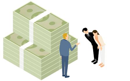 融資をお願いする男女のイラスト、アイソメト