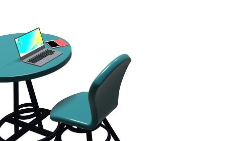 カフェで勉強や仕事をするイメージ パソコン スマホ テーブルと椅子