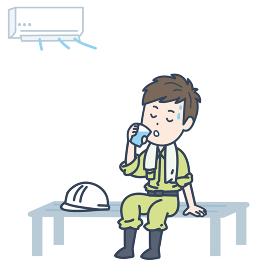 涼しい場所で水分補給をする男性作業員のイラスト