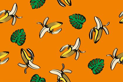 シームレスのバナナとモンステラのイラストの連続柄(アナログ調)夏のイメージ|テキスタイル