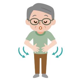 肺呼吸をするシニア男性