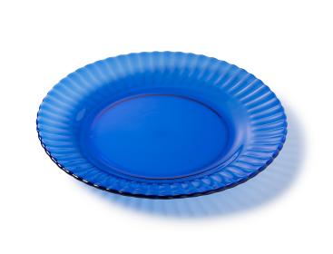 青いガラスのお皿