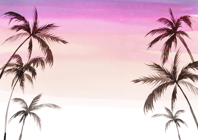 ヤシの木 背景 水彩 イラスト