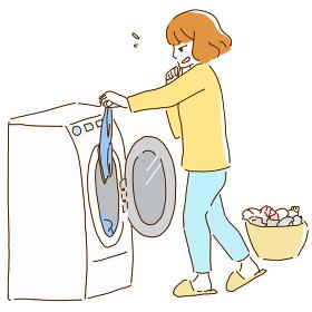 洗濯物を汚そうに持つ若い女性の線画イラスト