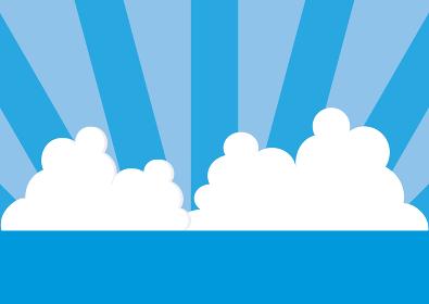 海・空・雲と放射状のボーダー背景のイラスト