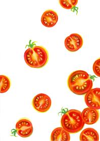 ミニトマトの輪切りイラスト