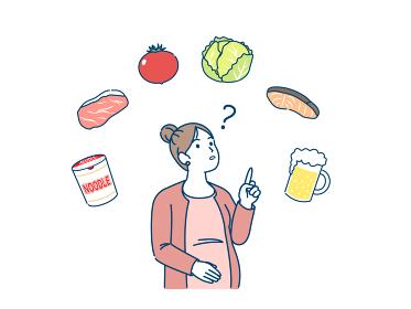 妊娠中の食生活について 食べ物 妊婦 疑問 イラスト素材