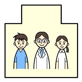 病院の中の医療従事者3人