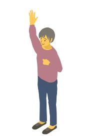 アイソメトリック図法 健康的なおばあちゃんが手を上げるベクターイラスト