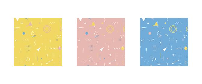 幾何学模様 背景素材(キッズカラー3色セット)スウォッチデータ有り