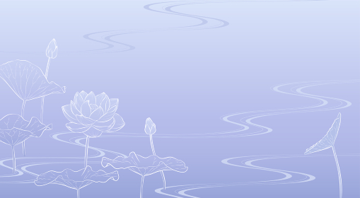 流水に蓮の花の背景イラスト(薄紫)